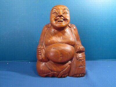 """Carved Wood Happy Buddah Statue - 8 1/2"""" Tall"""