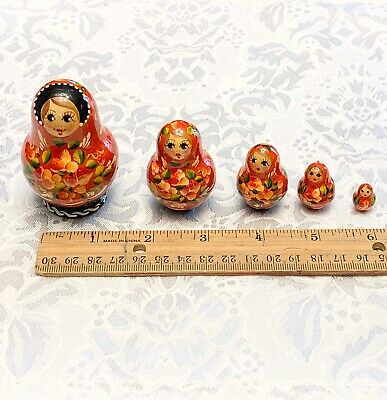 Small Wooden German Russian Stackable Nesting Dolls Set Of Five