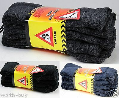 6 Pairs Mens Heavy Duty Winter Warm Work Thermal Cotton Crew Socks Size 9-13