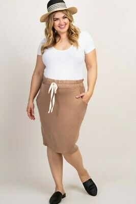 Mocha Solid Tie Front Skirt Plus Maternity 2xl