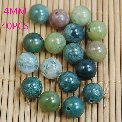 40PCS 4MM Wholesale Natural Gemstone Round Spacer Beads Stone DIY Jewelry Making
