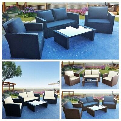 4 Pieces Rattan Garden Furniture Patio Set Sofa Table Chairs w/ Grey Cushion