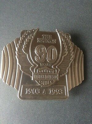 Harley Davidson Belt Buckle 90 Year Reunion 1903 - 1993