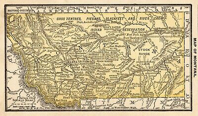 1888 Miniature Antique MONTANA State Map Rare Size Vintage Map of Montana 7608