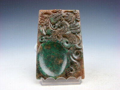 Vintage Nephrite Jade Stone Ink Slab Shape Paperweight Pi-Xiu & Coins #03282009