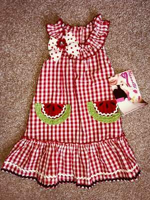 NWT Nannette Girls 2T Butterfly Blue Red Gingham Seersucker Sleeveless Dress