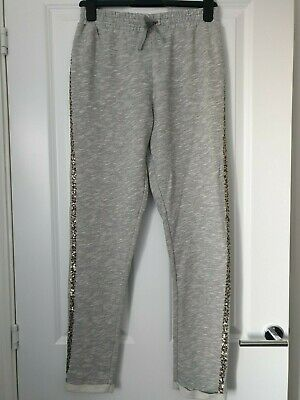 Next Marl Grey Sparkly Embellished Gold Pewtwer Sequin Trim Sporty Joggers 15 Yr