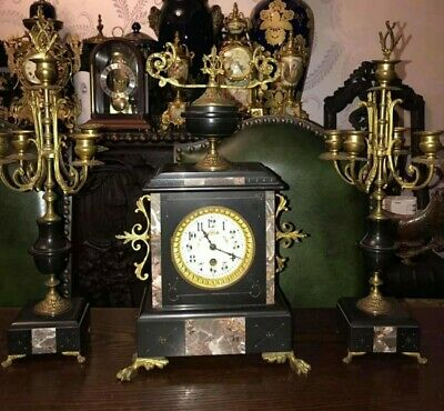 French Mantle Clock Garniture Napoleon Era 8Days Wind Up Movement Antique...