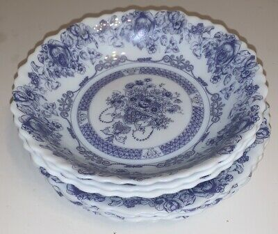 "3 Arcopal HONORINE SOUP Glass Bowls 7"" France Scalloped Blue Rose 4 Plates 7.5"""