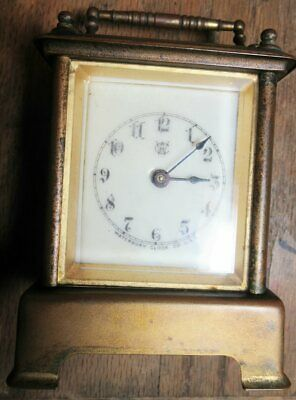 1891 Waterbury Brass Carriage Clock-Signed Dated Alarm Bevel Glass Enamel Face