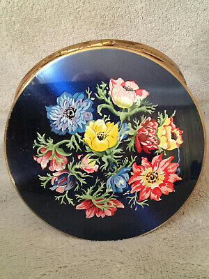 Vintage Stratton Blue Floral On Enamel Powder Compact