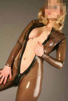 Latex Rubber Women catsuit Tights Coffee Tight Zip Overall bodysuit 0.4mm S-XXL