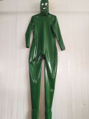 Latex Rubber Catsuit Tights Metal Green Overall Cosplay Bodysuit 0.4mm S-XXL