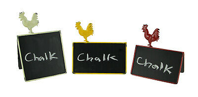 Rustic Metal Rooster Double Sided Folding Chalkboard Sign Set of 3