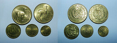 Peru :  Lot Of 5 Old Coins - All High Grade & Lustrous
