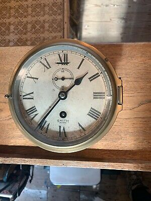 Original Brass Early Smiths Astral Brass Ships Bulk Head Clock