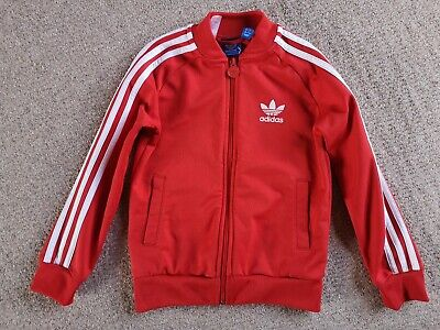 Younger Boy's Adidas Originals Red Firebird Tracksuit Top Jacket Hoodie Age 7-8