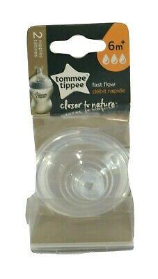 Tommee Tippee Closer to Nature Fast Flow Nipples 6 Month + 2 Pack
