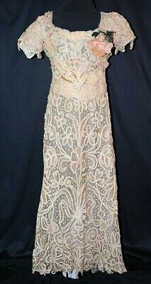 Antique Edwardian Lace Dress, c1905 Battenburg lace Full Length Trained Gown