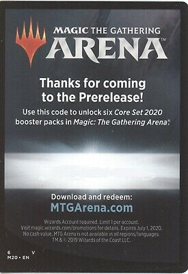 MTG Arena Pre-Release Core Set 2020 CODE EMAIL ONLY 6 packs of M20 1 per acct