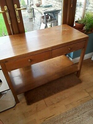 MID century Large Solid Golden Oak Table with Shelf Drawers Vintage