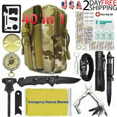 40 In 1 Outdoor Camping Survival Kit Military Tactical Emergency Gear EDC Tools
