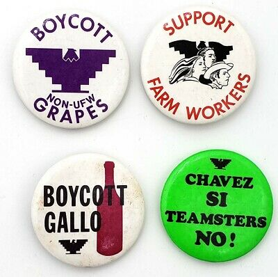 1970's United Farm Workers Boycott Grapes Cause Button Set (4)