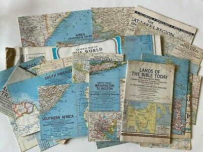 NATIONAL GEOGRAPHIC Inserts/Maps - Lot of 30 from 1940s up - List in description