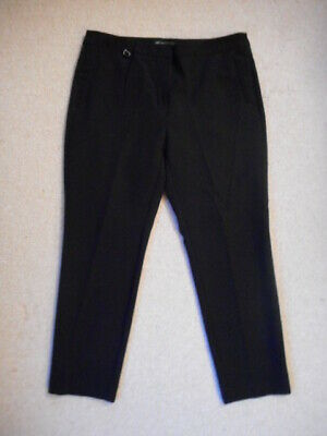 Womens Pants-ADRIANNA PAPELL-black stretch slim leg flat front-14