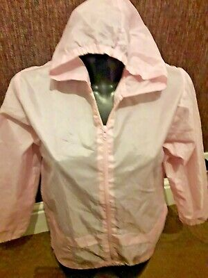 Girls Pale Pink Lightweight Hooded Kagool Raincoat Size 28 Age 10