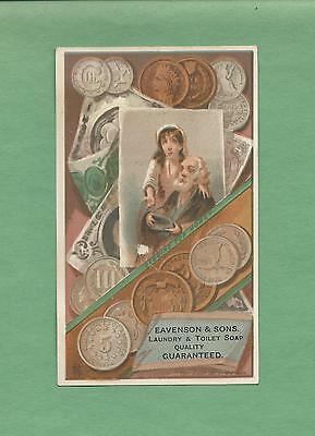 COUPLE BEGS FOR CHANGE On EAVENSON & SONS SOAP Victorian Trade Card