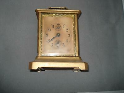 Antique German Wind Up Carriage Clock W/Music Box Alarm for Parts Restoration
