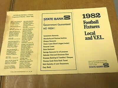 State Bank-Victoria-1982 Football Fixtures Card-VFL & Mid Murray FL-Rare-Marked.