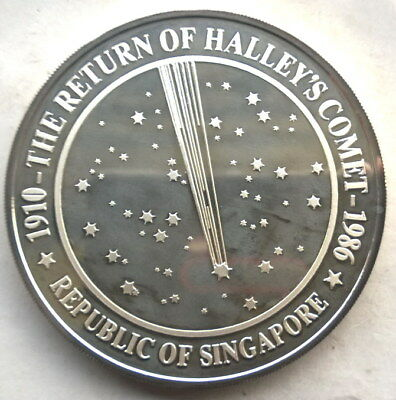 Singapore 1986 Halley's Comet Lion 5oz Silver Coin,Proof