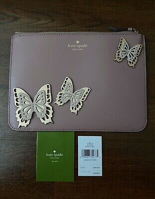 """Kate Spade Pink Butterfly Gia """"All The Buzz"""" Zipper Pouch Orig $149"""