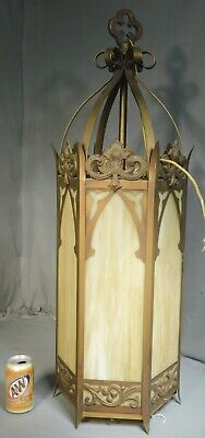 Vintage 20th c. NEO GOTHIC Art Glass Wrought Iron Brass Lantern Chandelier Light