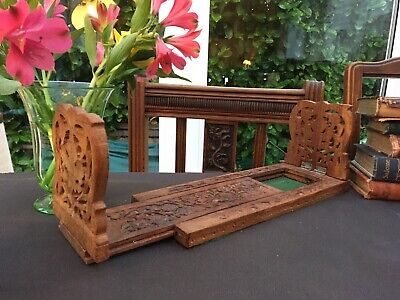 Antique Swiss Black Forest Carved Walnut Book Slide Flowers & Leafs Early 20thC.