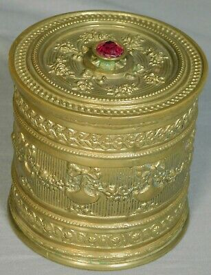 Antique French Louis XVI Style Embossed Brass Cylinder Dresser Trinket Box RUBY