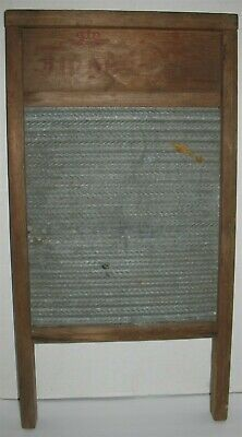Vintage Antique Wooden & Galvanized Tin Laundry Washboard Primitive