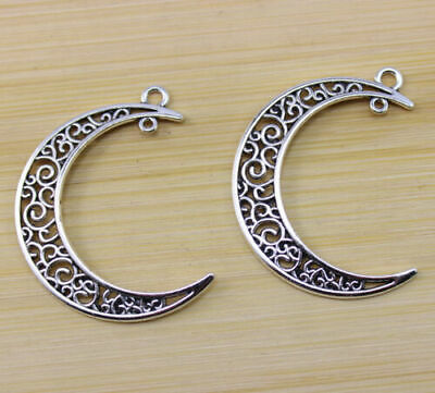 6 pcs Retro Style beautiful Hollow out moon alloy ancient silver Charm pendant