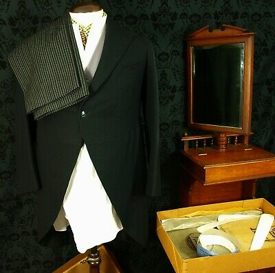 Vtg Morning suit Spats Collars Waistcoat Strips Coat Trousers Scarf Shirt Set