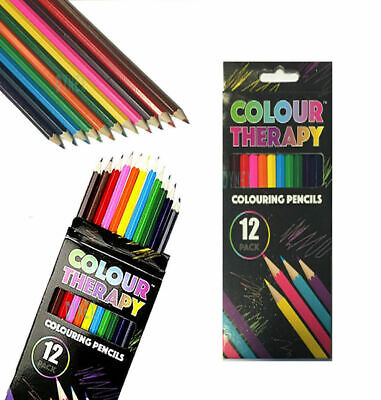 GOOD QUALITY 12x COLOUR THERAPY COLOURING PENCILS FOR SOOTHING STRESS RELIEF