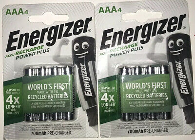 ENERGIZER AAA 700mAh RECHARGEABLE BATTERIES PRE-CHARGED 2 X 4 Pack 8 Batteries