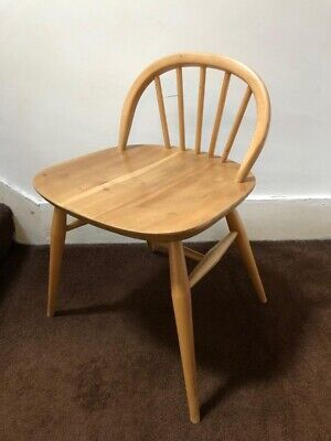 Blonde Vintage Retro Mid Century Low Back Ercol Dressing Table Or Desk Chair