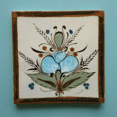Vintage Hand slip-painted Mexican Wall Tile floral Blue Green lustre