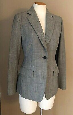 Brooks Brothers Fleece Check Plaid Wool Suiting One Button Blazer Size 4  Womens
