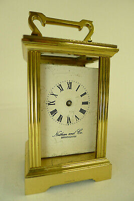 Miniature CARRIAGE CLOCK 8-day duration gilded lacquered case for spares/repairs