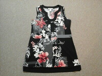 White House Black Market,multicolor floral sleeveless stretch tunic top,womens M
