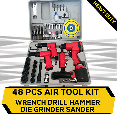 New 48PC Air Impact Wrench Reversible Drill Die Grinder Hammer Sander Kit 5 in 1