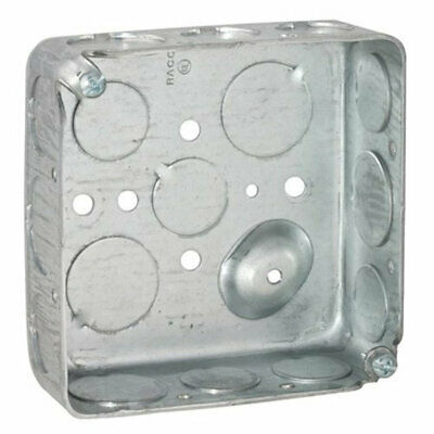 """Hubbell-Raco 192 Square Box, 1-1/2"""" Depth, 1/2""""-3/4"""" Knock-Out, 4"""" (Pack of 50)"""